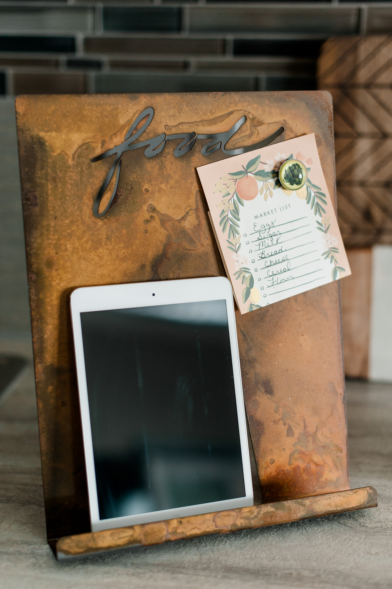 Magnetic Recipe/Tablet Holder by Prairie Dance